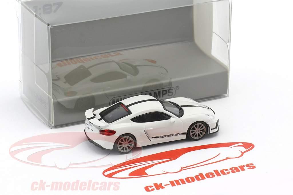 Porsche Cayman GT4 anno di costruzione 2016 bianco con nero striscia 1:87 Minichamps