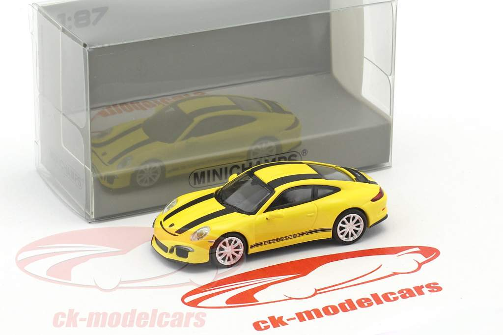 Porsche 911 (991) R Baujahr 2016 gelb mit schwarzen Streifen 1:87 Minichamps