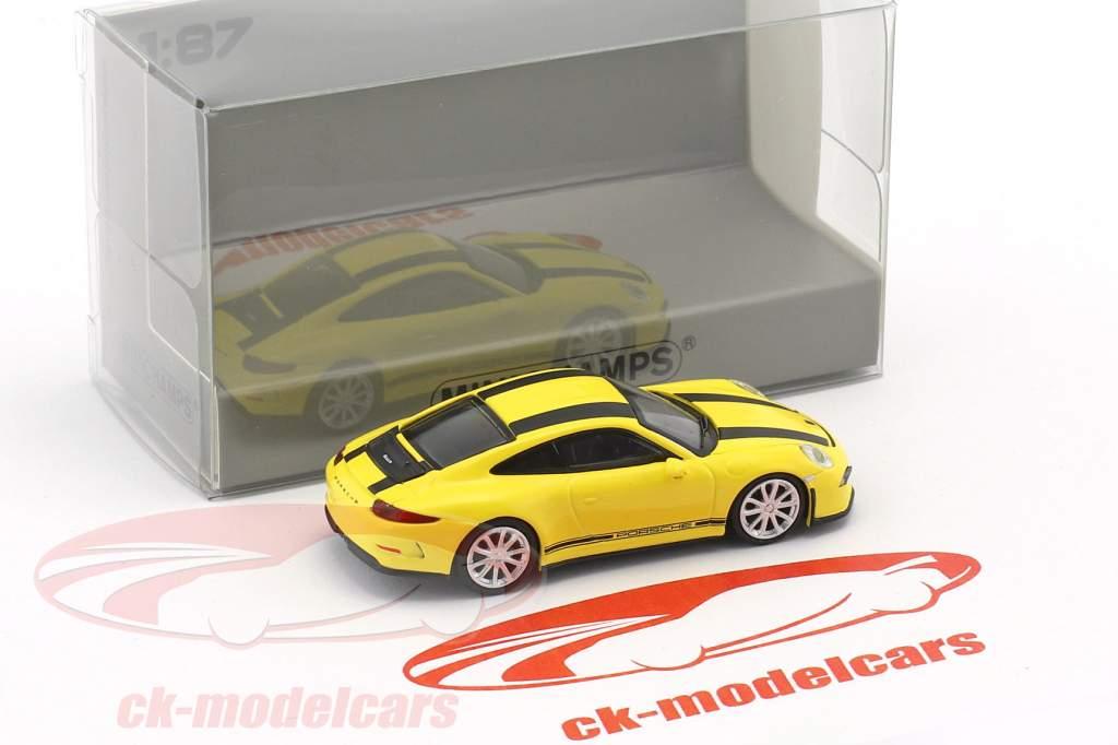 Porsche 911 (991) R anno di costruzione 2016 giallo con nero strisce 1:87 Minichamps