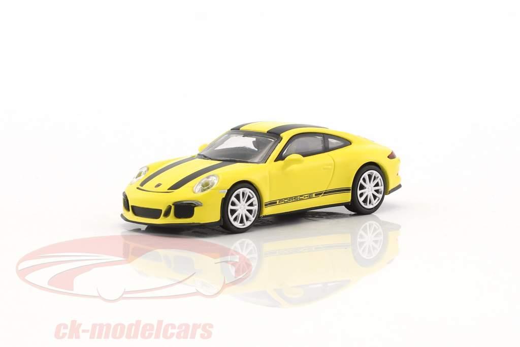 Porsche 911 (991) R année de construction 2016 jaune avec noir rayures 1:87 Minichamps