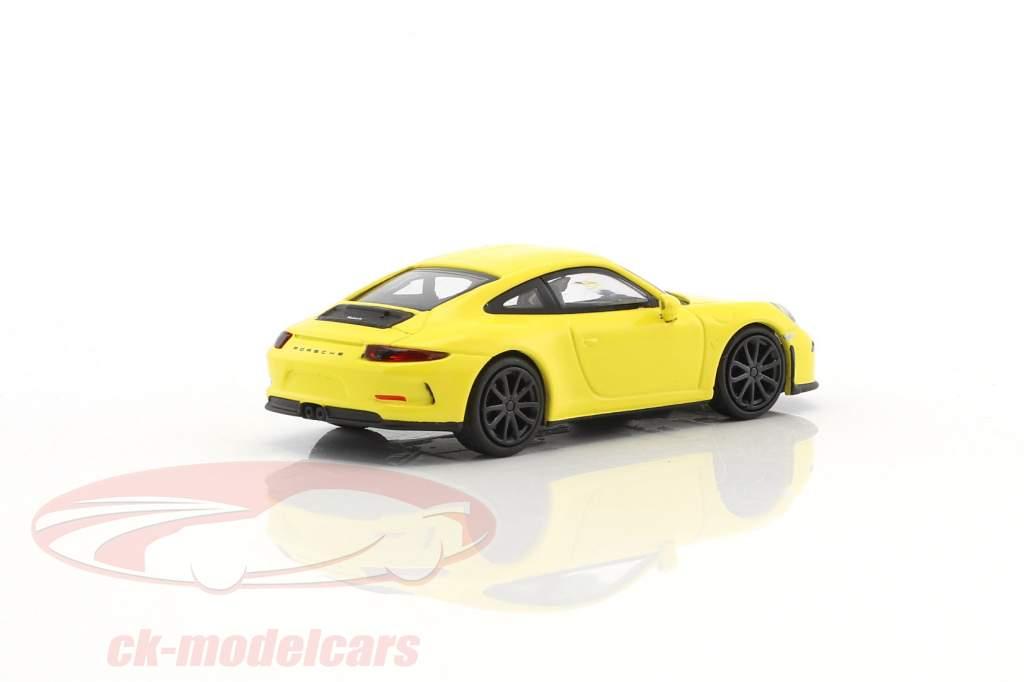 Porsche 911 (991) R  year 2016 yellow with black wheels 1:87 Minichamps