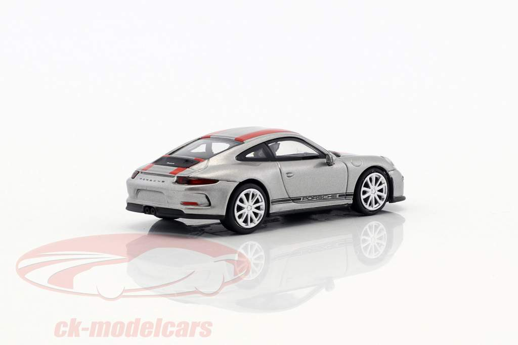 Porsche 911 (991) R year 2016 silver with red stripes 1:87 Minichamps