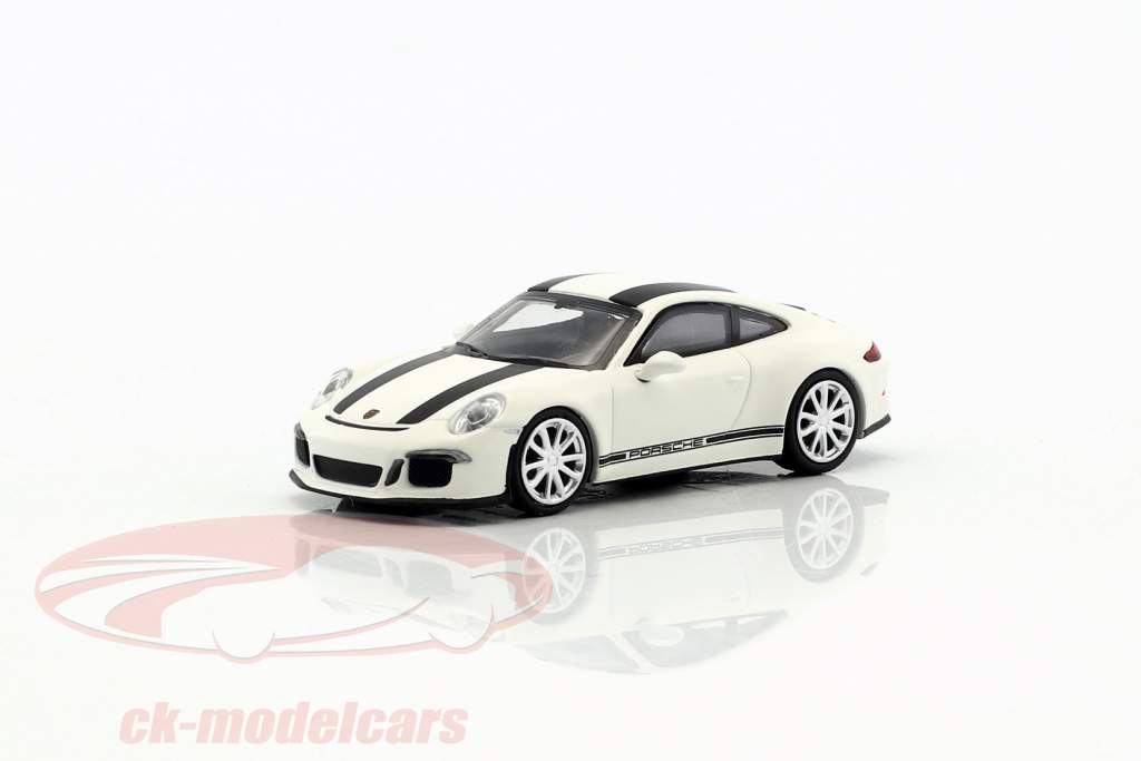 Porsche 911 (991) R year 2016 white with black stripes 1:87 Minichamps