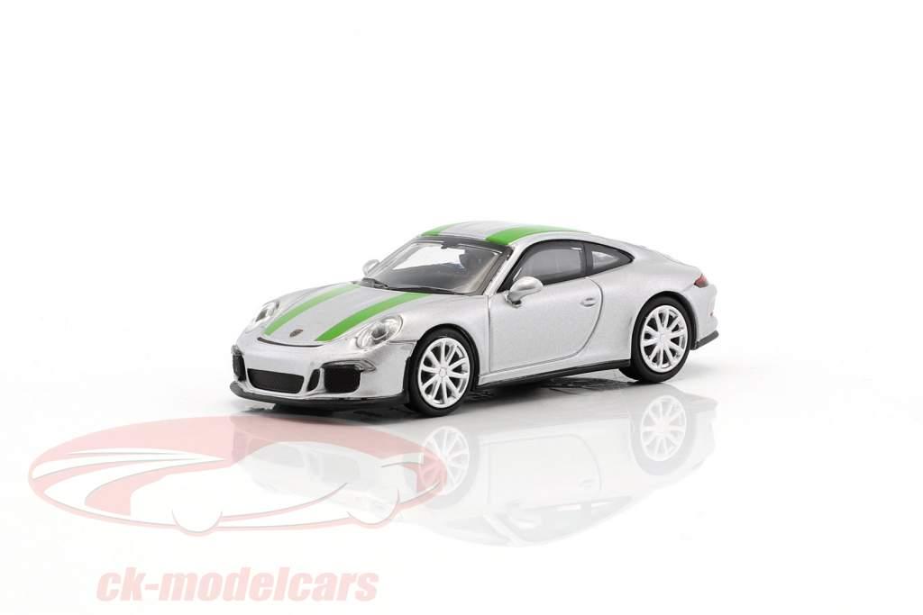 Porsche 911 (991) R Baujahr 2016 silber mit grünen Streifen 1:87 Minichamps