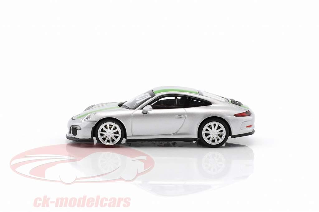 Porsche 911 (991) R anno di costruzione 2016 argento con verde strisce 1:87 Minichamps