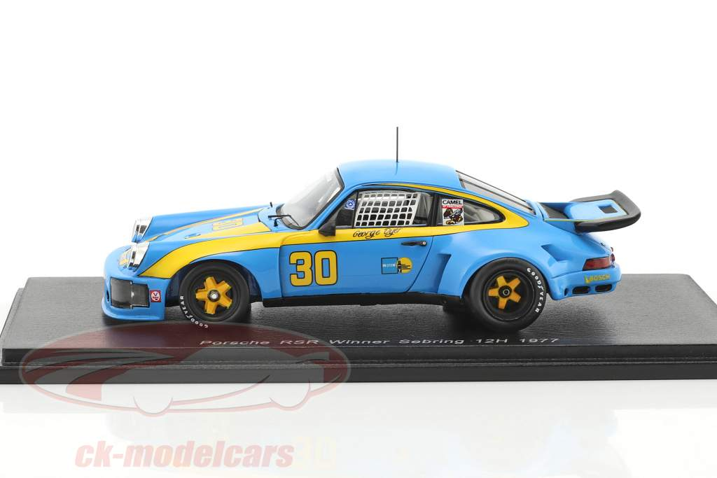 Porsche 911 Carrera RSR #30 gagnant 12h Sebring 1977 Dyer, Frisselle 1:43 Spark