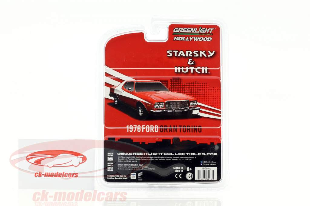 Ford Gran Torino año de construcción 1976 series de televisión Starsky & Hutch (1975-1979) rojo 1:64 Greenlight