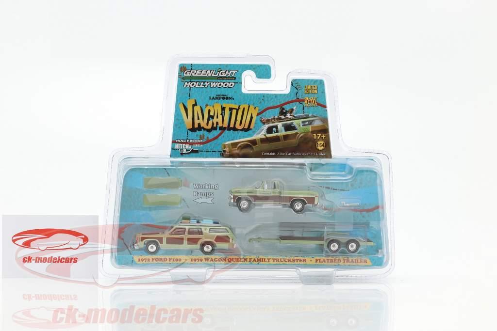 3-Car set Ford F100 1972 e Wagon Queen Family Truckster 1979 con Flatbed trailer 1:64 Greenlight