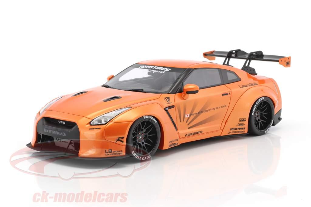LB Nissan GTR R35 anno di costruzione 2016 arancione metallico 1:18 GT-Spirit