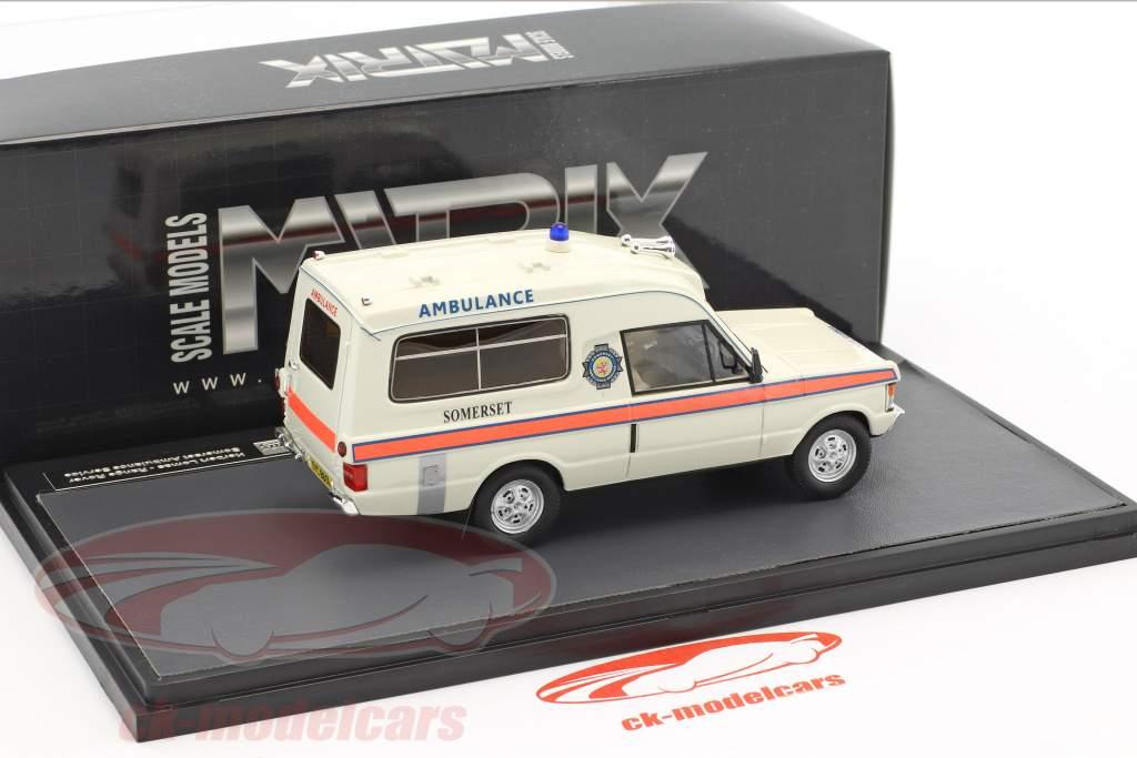 Land Rover Range Rover Herbert Lomas Somerset Ambulance Service year 1972 white 1:43 Matrix