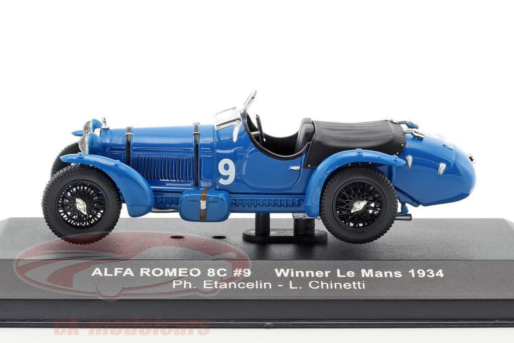Alfa Romeo 8C ° 9 Etancelin, Chinetti vainqueur 24h LeMans 1934 1:43 Ixo