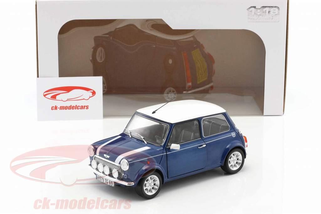 Mini Cooper 1.3i Sport Pack année de construction 1997 bleu métallique / blanc 1:18 Solido