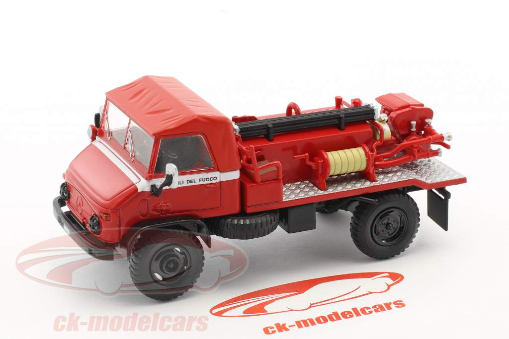 Mercedes-Benz Unimog 404 departamento de bomberos rojo 1:43 Atlas