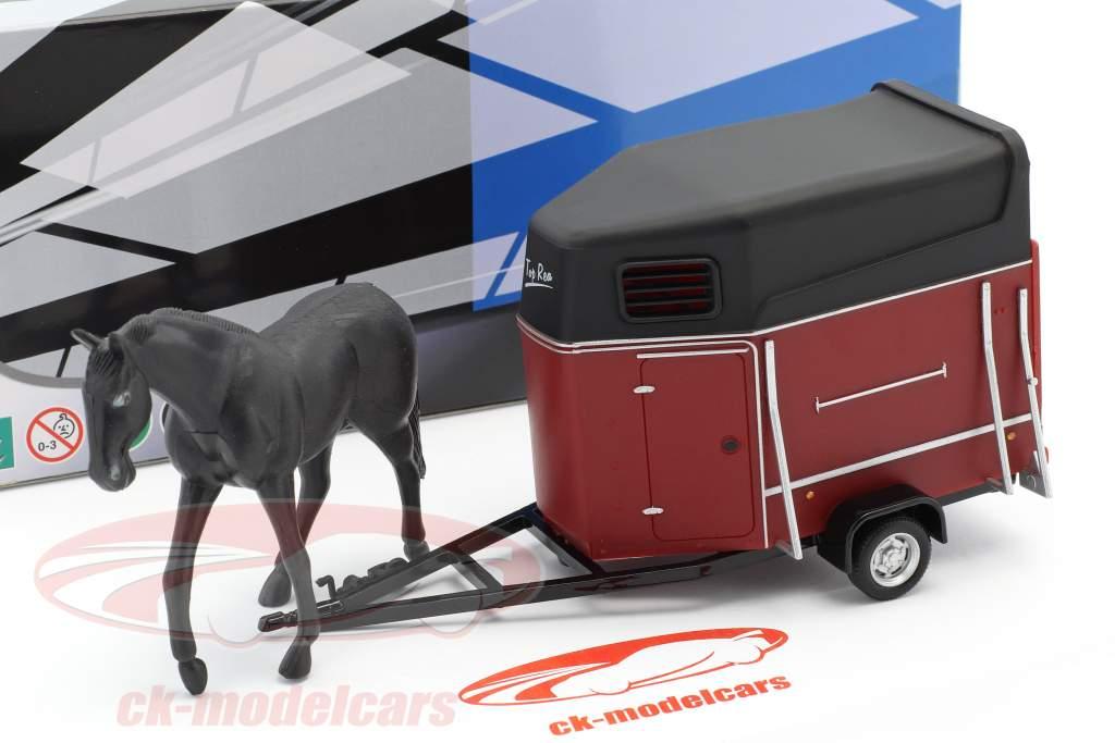 Horse trailer with horse dark red / black 1:43 Cararama