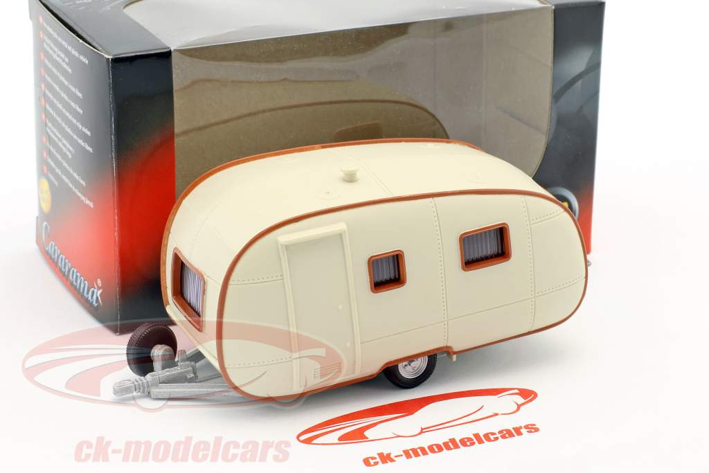 Wohnwagen Caravan II cream white with brown ornament 1:43 Cararama