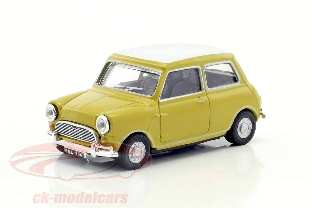 Mini Cooper anno di costruzione 1969 senape giallo / bianco 1:43 Cararama