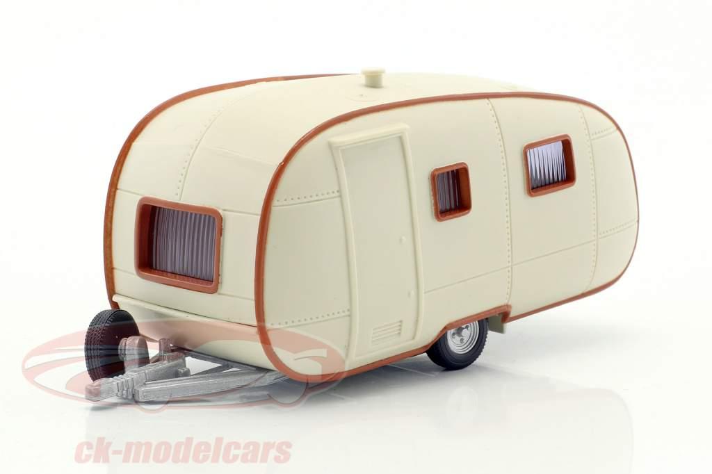 Wohnwagen Caravana II creme Branco Com Castanho enfeite 1:43 Cararama