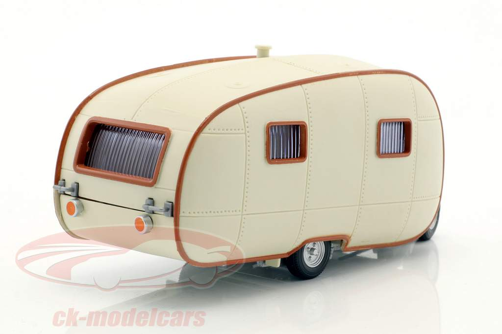 Wohnwagen Campingvogn II fløde hvid Med Brun ornament 1:43 Cararama