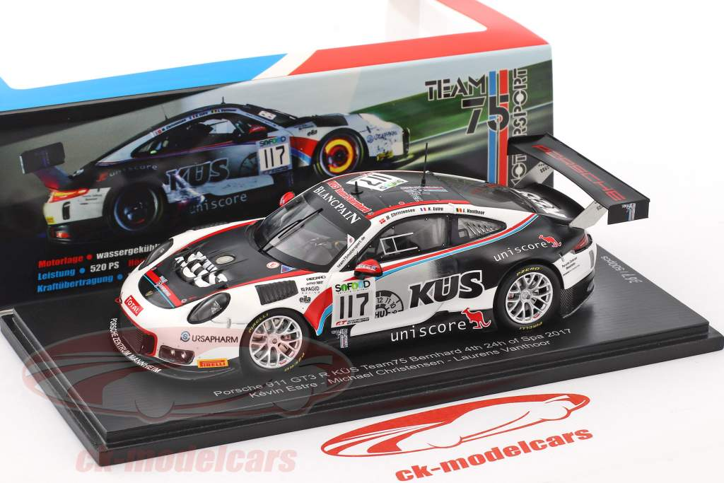 Porsche 911 (991) GT3 R #117 4 ° 24h Spa 2017 Team Promo Edition 1:43 Spark