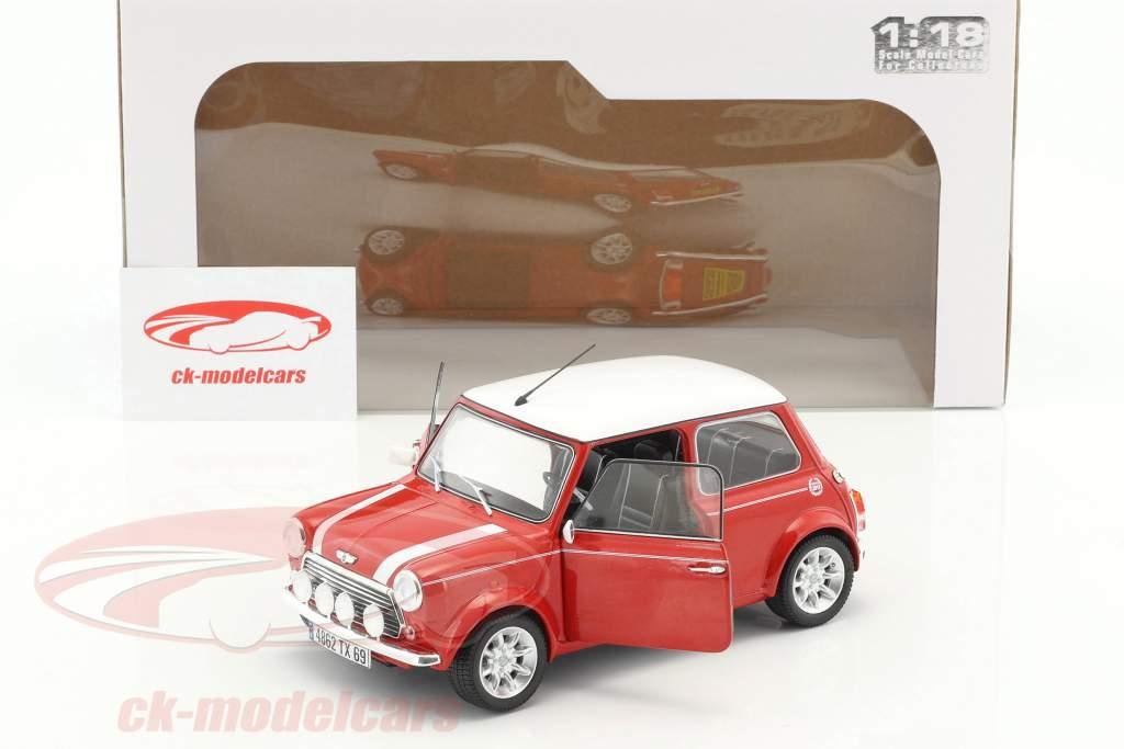 Mini Cooper 1.3i Sport Pack année de construction 1997 rouge métallique / blanc 1:18 Solido