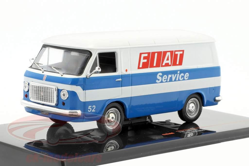 Fiat 238 van Fiat Service Opførselsår 1971 hvid / blå 1:43 Ixo