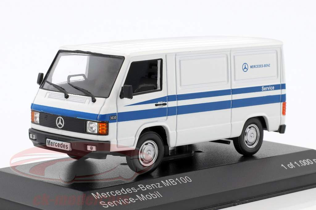Mercedes-Benz MB 100 van Mercedes Service blanc / bleu 1:43 WhiteBox