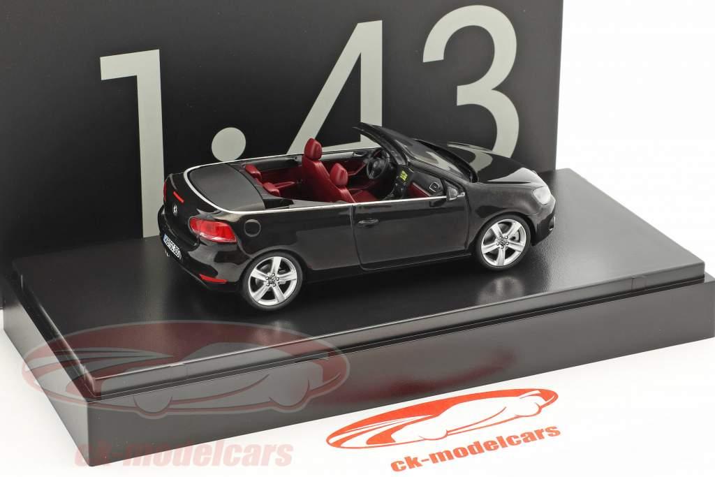 Volkswagen VW Golf cabriolet anno di costruzione 2012 nero con rosso posti a sedere 1:43 Schuco