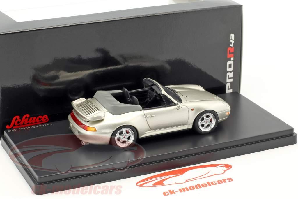 Porsche 911 (993) Turbo cabriolet grigio argento metallico 1:43 Schuco
