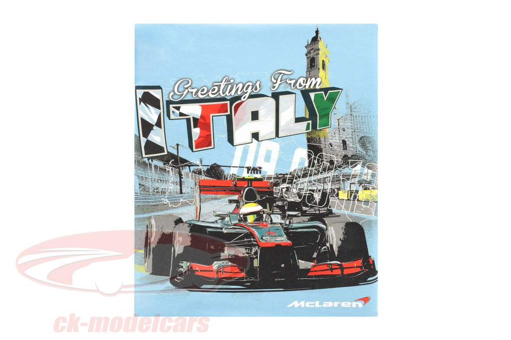 McLaren Greetings from Italy Lewis Hamilton F1 2009 T-shirt light blue