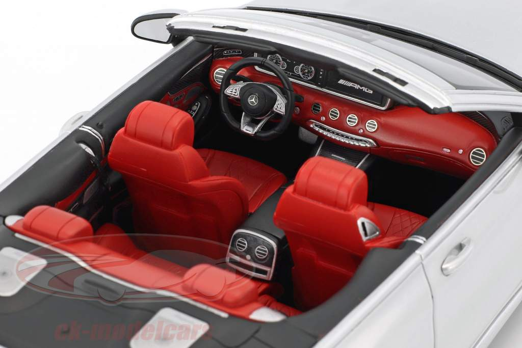 Mercedes-Benz AMG S 65 Convertible year 2017 silver metallic 1:18 GT-Spirit