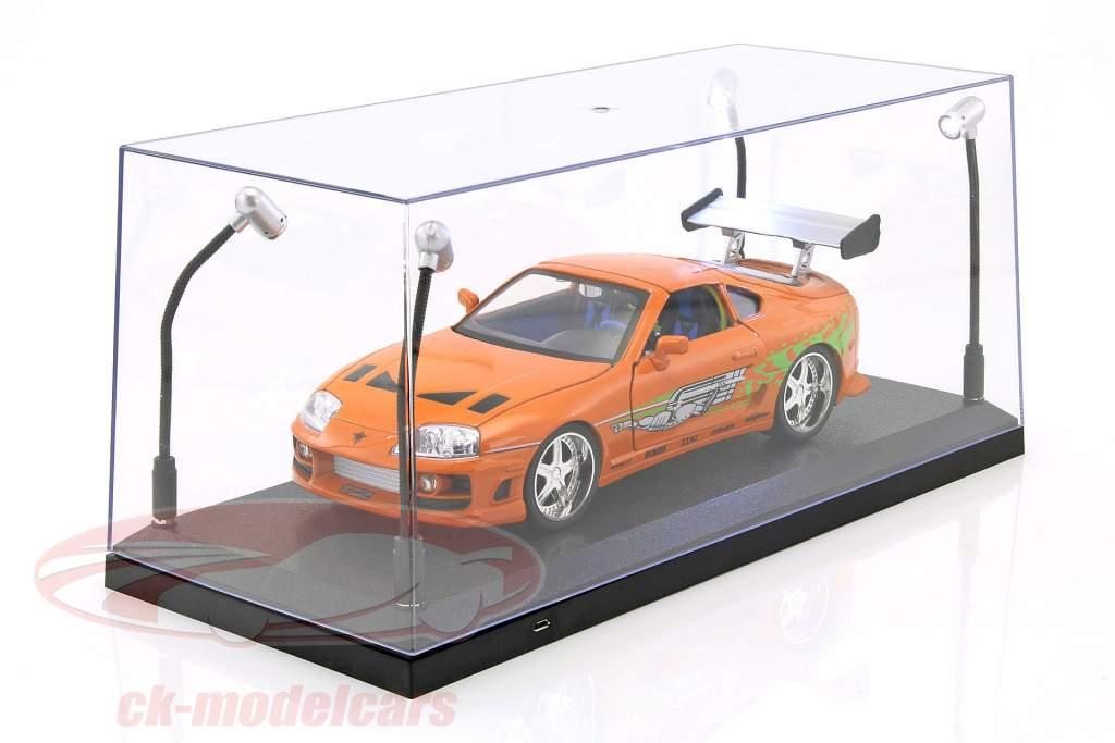 Soltero escaparate con 4 móvil LED lámparas para modelo carros en escala 1:18 Triple9
