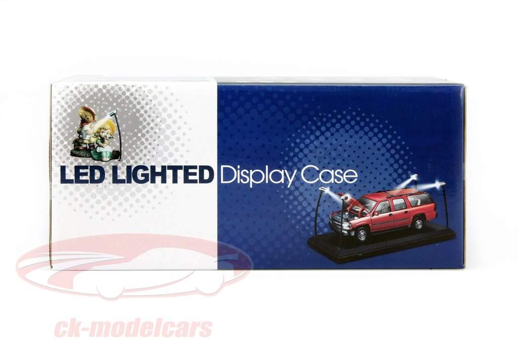 Enkelt udstillingsvindue med 4 mobil LED lamper til model biler i skala 1:18 Triple9