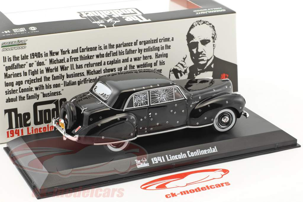 Lincoln Continental with Bullet Hole Damage film The Godfather 1972 nero 1:43 Greenlight
