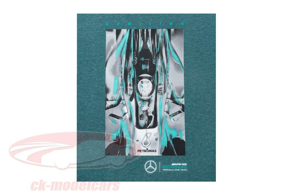 Lewis Hamilton Mercedes AMG Petronas F1 Team campione del mondo F1 2017 Maglietta verde