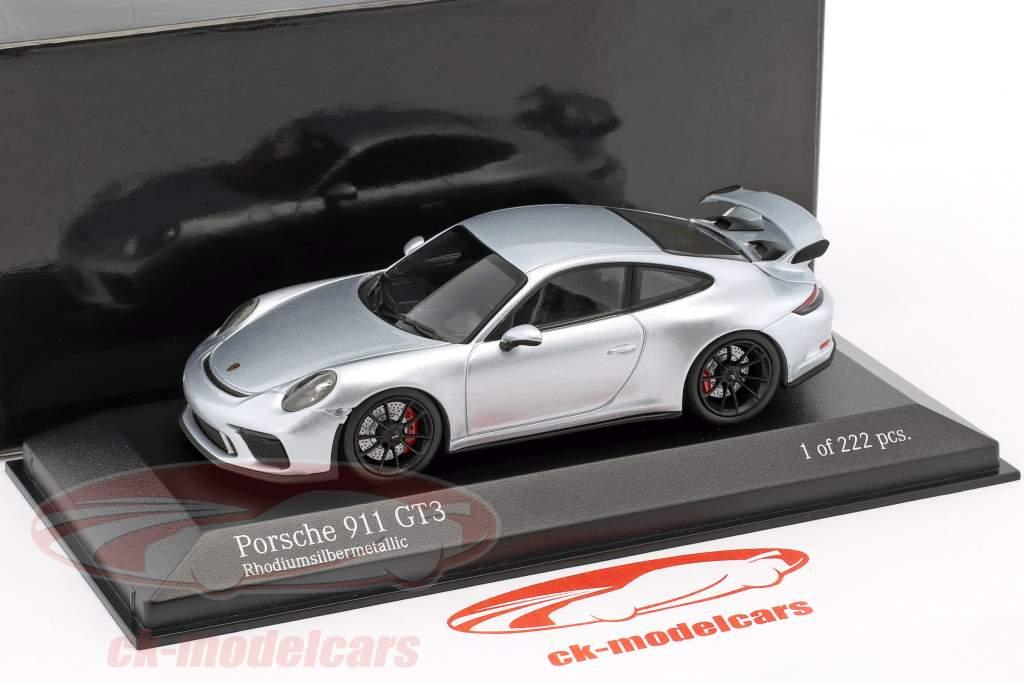 Porsche 911 (991 II) GT3 année de construction 2017 rhodium argent métallique 1:43 Minichamps