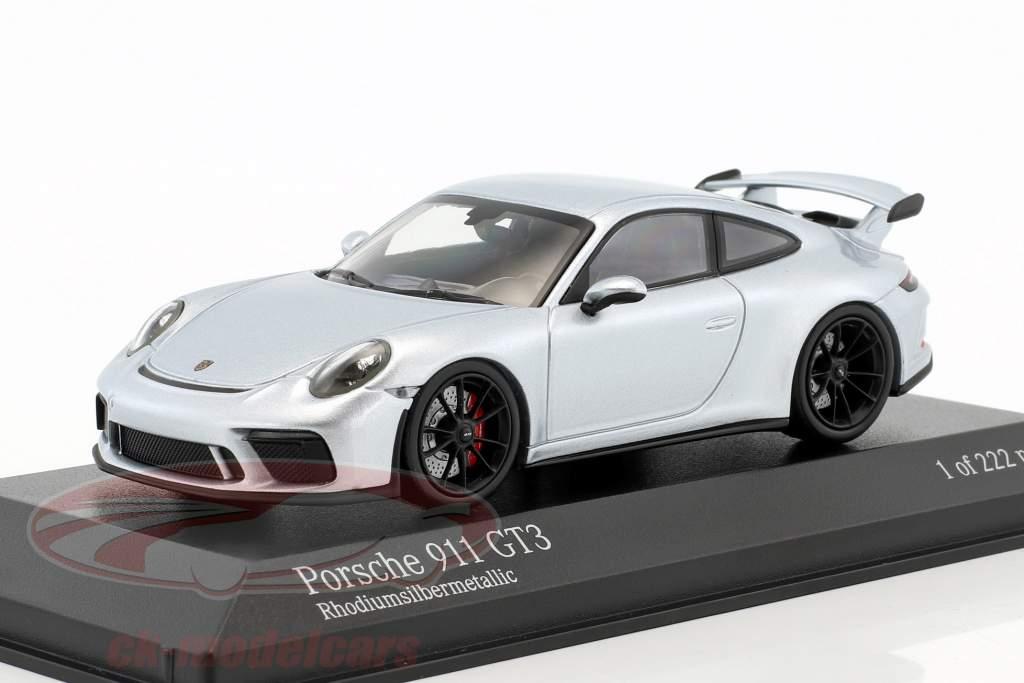 Porsche 911 (991 II) GT3 anno di costruzione 2017 rodio argento metallico 1:43 Minichamps