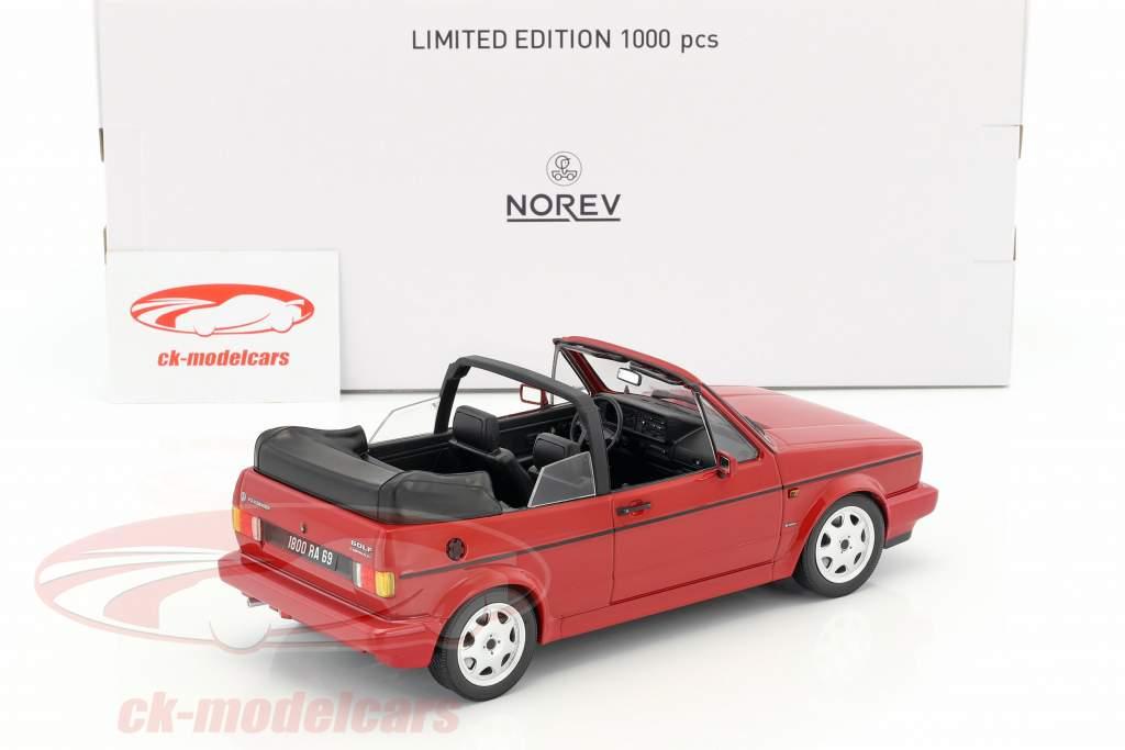 """Volkswagen VW Golf I cabriolé """"Erdbeerkörbchen"""" año de construcción 1992 rojo 1:18 Norev"""