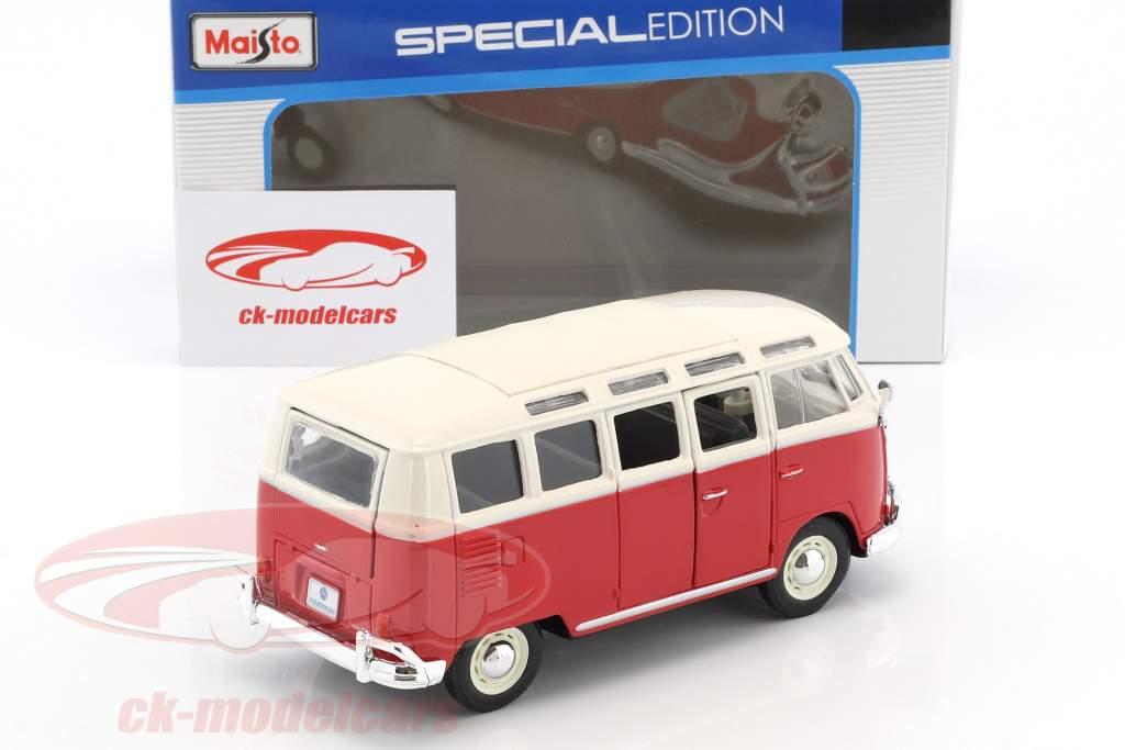 Volkswagen VW Samba autobus rosso / bianco 1:24 Maisto