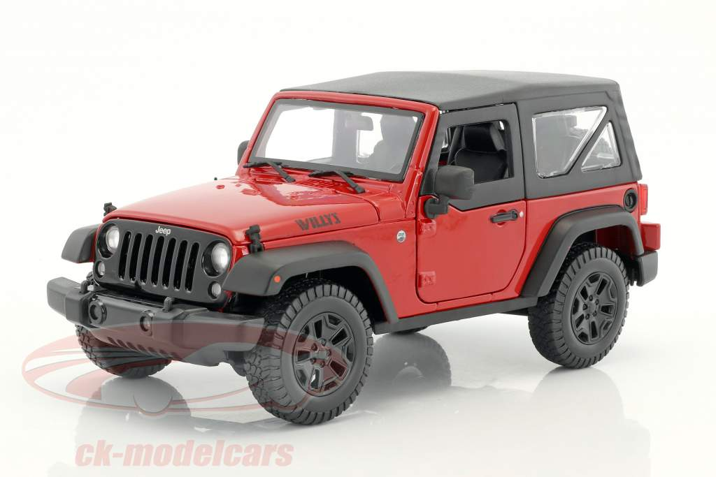 Jeep Wrangler Willys Baujahr 2014 rot / schwarz 1:18 Maisto