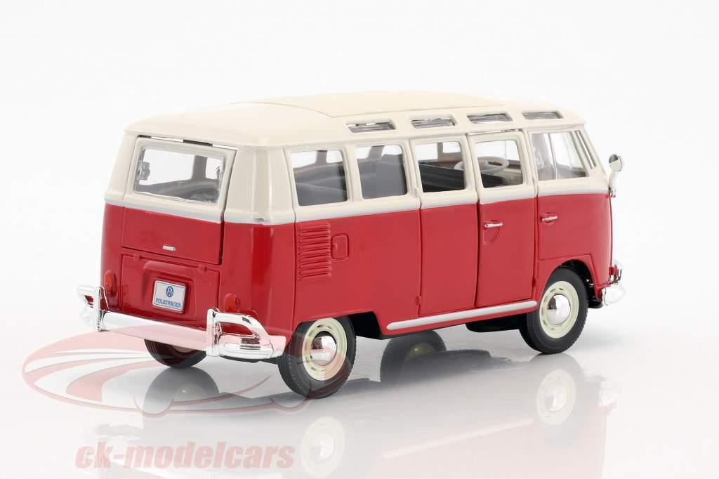 Volkswagen VW Samba bus rood / wit 1:24 Maisto