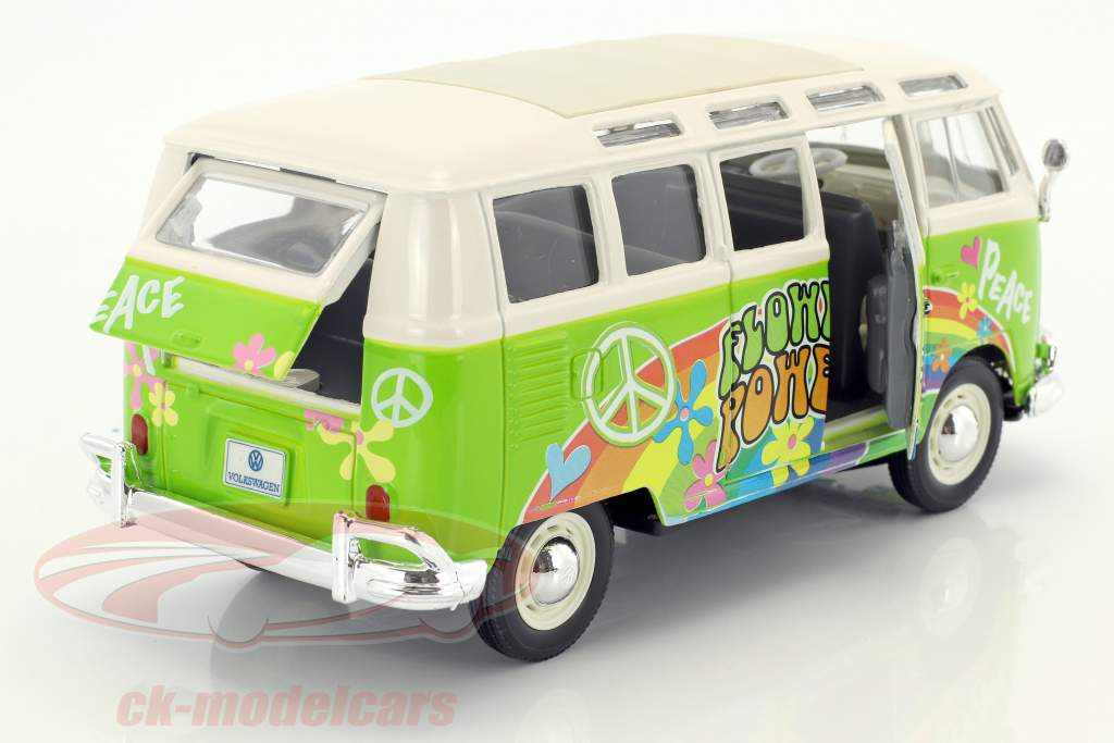 Volkswagen VW T1 Samba Bus Hippie Line Flower Power hellgrün / weiß 1:24 Maisto