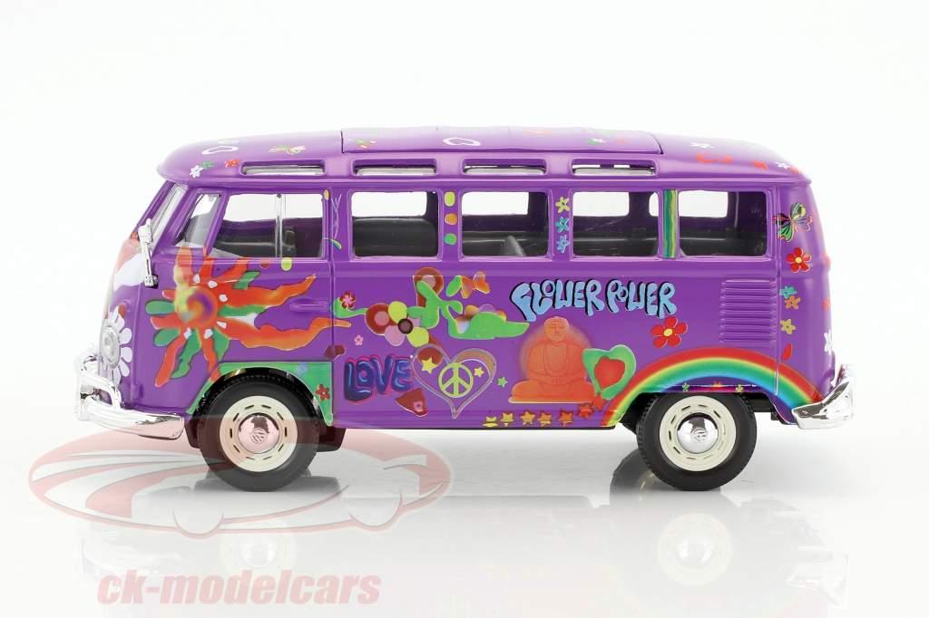 Volkswagen VW T1 Samba Bus Hippie Line Flower Power purple 1:24 Maisto