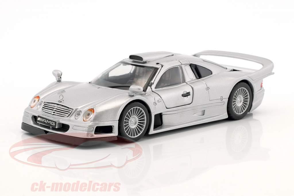 Mercedes-Benz CLK GTR strada versione argento 1:24 Maisto
