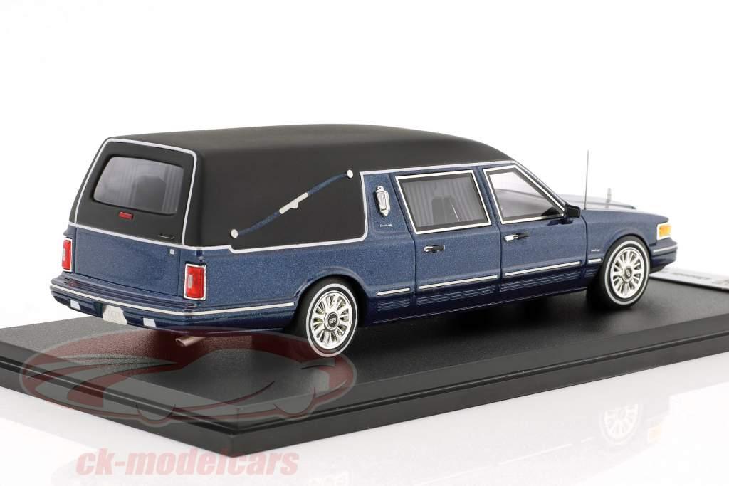 Lincoln Town Car carro funebre anno di costruzione 1997 blu metallico 1:43 GLM