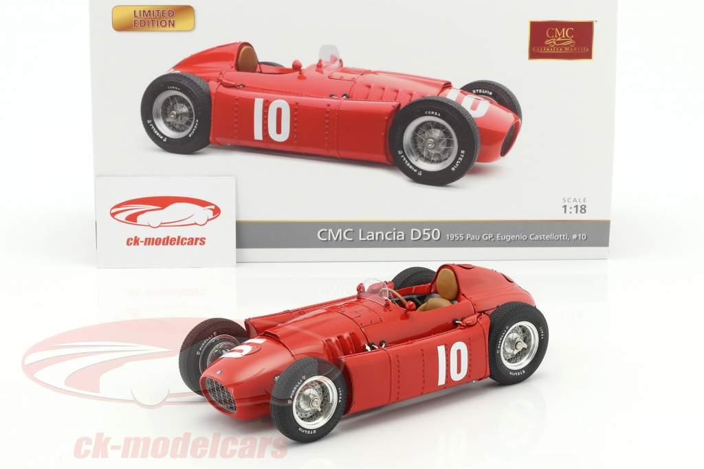 Lancia D50 #10 2nd Pau GP Formel 1 1955 Eugenio Castellotti 1:18 CMC