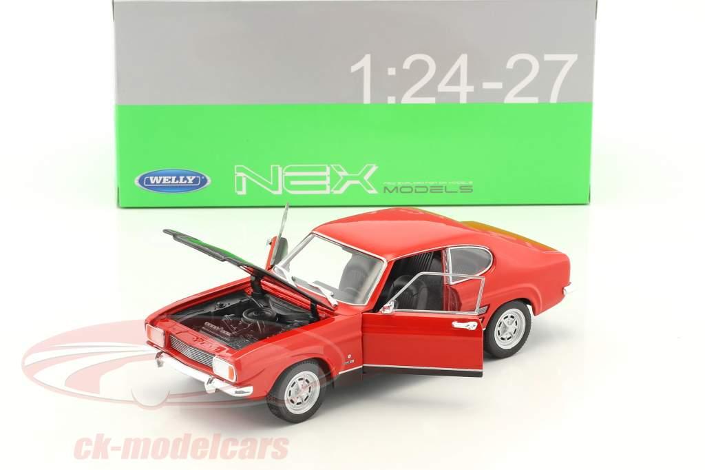 Ford Capri RS Bouwjaar 1969 rood / zwart 1:24 Welly