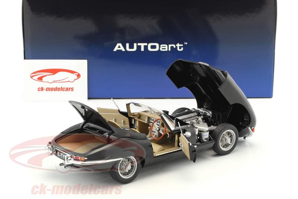 Jaguar E-Type Roadster Series I 3.8 year 1961 black 1:18 AUTOart