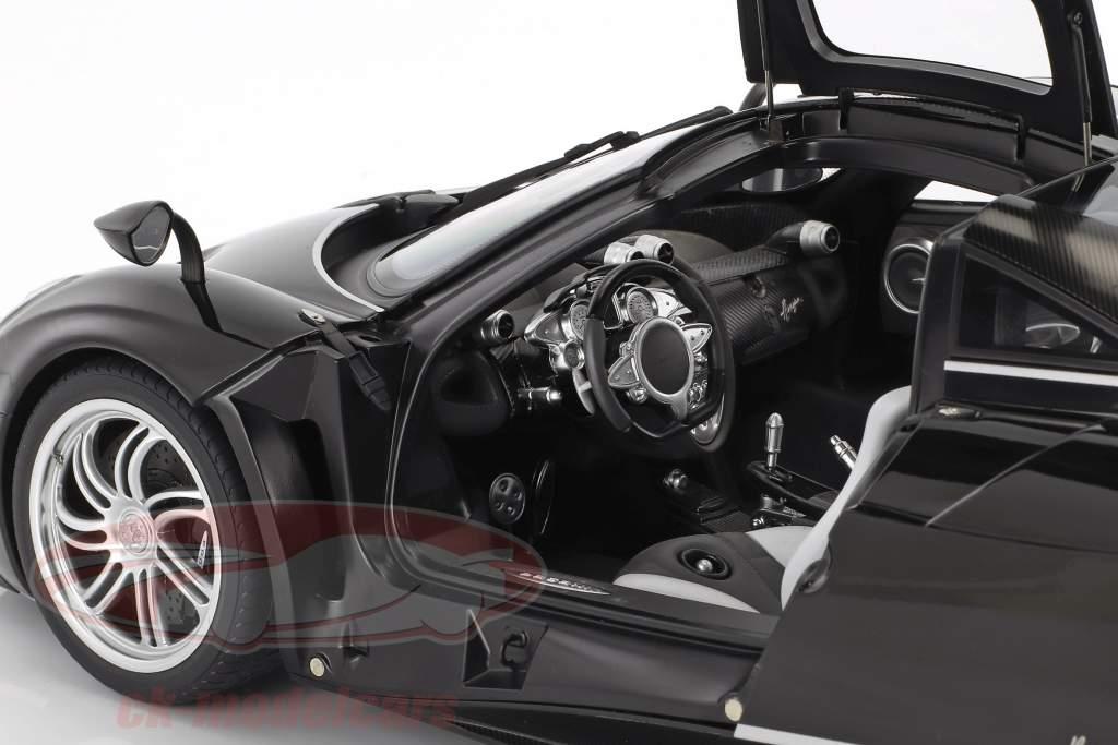 Pagani Huayra Opførselsår 2011 blank sort med sølv striber 1:12 AUTOart