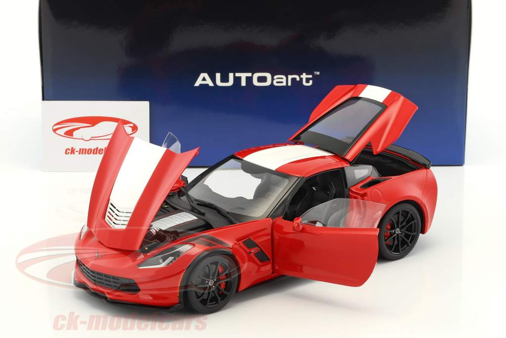 Chevrolet Corvette C7 Grand Sport year 2017 red with white stripes 1:18 AUTOart