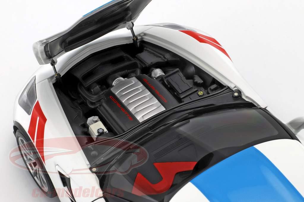 Chevrolet Corvette C7 Grand Sport année de construction 2017 blanc avec bleu rayures 1:18 AUTOart